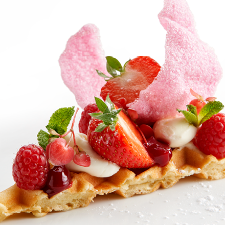 Vanilla Waffle with Cracker Rose Water