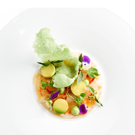 Carpaccio of langoustines with Cracker Wasabi